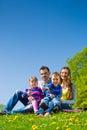 Glückliche familie die in der sommerwiese sitzt Lizenzfreie Stockbilder