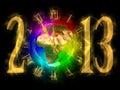 Glückliches neues Jahr 2013 - Europa, Afrika, Asien Lizenzfreies Stockbild