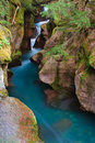 Glacial Blue Water Rushing Through Avalanche Gorge Royalty Free Stock Photo
