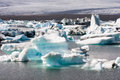 Glacial lagoon icebergs floating in the in iceland Royalty Free Stock Images