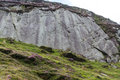 Glacial polish rocks smoothed by ice age glacier rock passing over it drws y coed valley snowdonia national park gwynedd wales Royalty Free Stock Photography