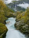 Glacial river and waterfall Royalty Free Stock Photo