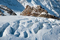 Glacier with crevasses and seracs in the regions of saas fee in the swiss alps Stock Photography