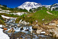 Glacier formed creek, Mount Rainier Stock Images