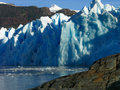Glacier in lago grey in torres del paine the national park patagonia chile a rare view on a calm morning Stock Photos