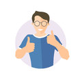 Glad, joyful, cheerful handsome boy in glasses. Flat design icon of handsome man with thumbs up. Simply editable on white