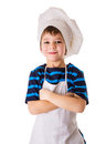 Glad little chef standing isolated on white Stock Images