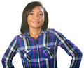 Glad teenager single teenage female in flannel shirt Stock Photo