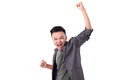 Glad winner man shouting on white isolated background Royalty Free Stock Images