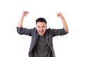 Glad winner man shouting on white isolated background Royalty Free Stock Image