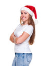Glad woman in santa hat Royalty Free Stock Image