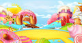 Glade in a candy land. Sweet landscape, vector panorama
