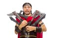Gladiator with armament isolated on the white Stock Images