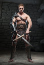 Gladiator with two swords Royalty Free Stock Photo