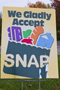 We gladly accept snap grocer accepts and food stamps Stock Images