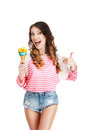 Gladness delightful woman with ice cream laughing happy Stock Image