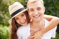 Gladness joyful couple looking at camera Royalty Free Stock Photos