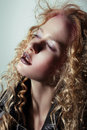 Glam. Profile of Pensive Girl with Trendy Vivid Makeup Royalty Free Stock Photo
