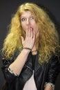 Glam rock girl beautiful in stile Stock Photos