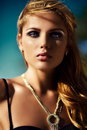 Glamor closeup portrait of beautiful sexy stylish brunette Caucasian young woman model with bright makeup, with perfect sunbathed Royalty Free Stock Photo