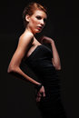 Glamor woman in black dress Royalty Free Stock Photos