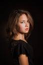 Glamor  woman dark face portrait, beautiful female isolated on black background, stylish sexy look, young lady studio shot Royalty Free Stock Photo