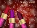 Glamorous colorful lipstick set on the sparkling effects