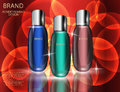 Glamorous Cosmetic Bottles, Jars on the Sparkling Effects Background.