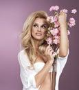 Glamorous curvy blonde woman