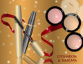 Glamorous Eye Shadows and mascara products package design in 3d