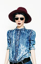 Glamorous fashion model in a stylish denim. Country style Royalty Free Stock Photo