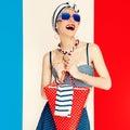 Glamorous lady. Marine style. fashion vacation Royalty Free Stock Photo