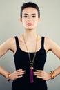 Glamorous Portrait of Beautiful Woman Fashion Model with Jewelry Royalty Free Stock Photo