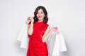 Glamorous Summer Shopping Asian Lady Style With Red Dress Royalty Free Stock Photo