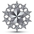 Glamorous vector rounded template with pentagonal silvery stars best for use in web and graphic design conceptual gray d heraldic Stock Photography