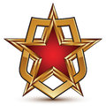Glamorous vector template with pentagonal golden star symbol placed in a shield best for use in web and graphic design conceptual Stock Photo