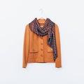 Glamorous vintage. Ladies jacket and scarf. Combination brown sh