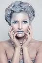 Glamorous Winter Fashion Model Woman with Glitters Makeup Royalty Free Stock Photo