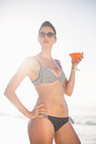 Glamorous woman with a cocktail drink standing on the beach Royalty Free Stock Photo