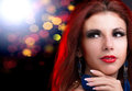 Glamour beautiful woman with beauty red hair on the night party Stock Photo