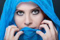 Glamour female model with headscarf Royalty Free Stock Photo