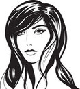 Glamour girl with black hairs Royalty Free Stock Photo