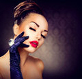 Glamour girl portrait beauty fashion vintage style Stock Image