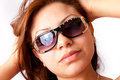 Glamour girl with sunglasses Royalty Free Stock Photos