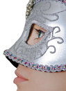 Glamour mask closeup photo of a young lady with a silver Royalty Free Stock Images