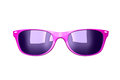 Glamour pink sunglasses front view of with blue lenses isolated on white background Stock Photography