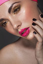 Glamour portrait of beautiful woman model with fresh makeup lady Royalty Free Stock Photos