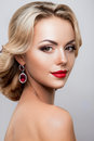 Glamour portrait of beautiful woman model with Royalty Free Stock Photo