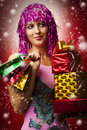 Glamour portrait of christmas happy woman, gifts Stock Photo