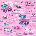 Glamour seamless pattern with heart, stickers, text, stars. Cool Little star. Girlish print for clothes, textiles, wrapping paper,